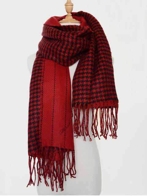 ladies Houndstooth Stripe Tassel Edge Scarf -   Mobile