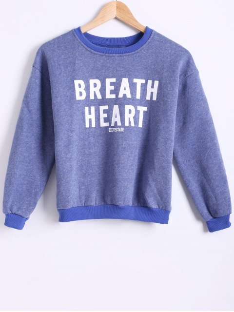 hot Letter Printed Round Neck Fleece Sweatshirt - BLUE ONE SIZE Mobile