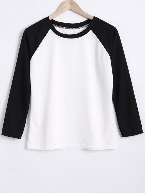 Color Block col rond Raglan Sleeve Sweatshirt - Blanc et Noir M Mobile