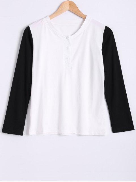 Col rond manches longues Color Block T-shirt - Blanc et Noir 2XL Mobile