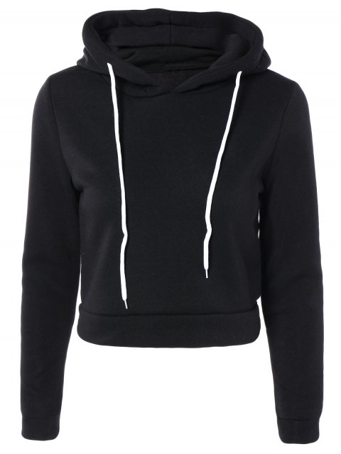 fashion Cropped Pure Color Long Sleeve Hoodie - BLACK M Mobile