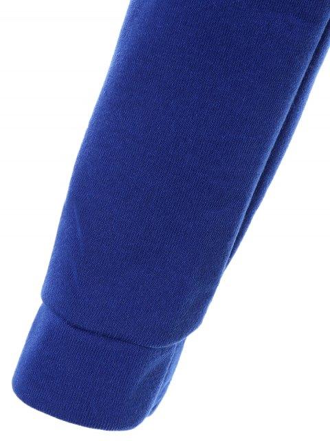 unique Cropped Pure Color Long Sleeve Hoodie - SAPPHIRE BLUE L Mobile