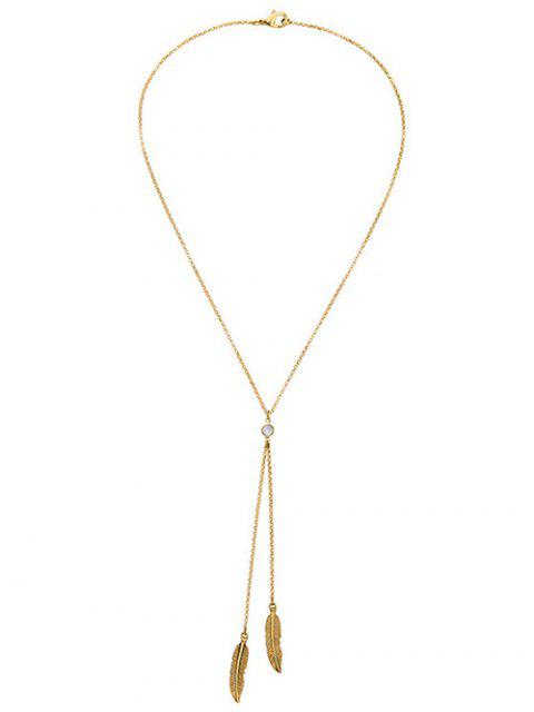Collar plateado oro de la hoja Bolo - Dorado  Mobile