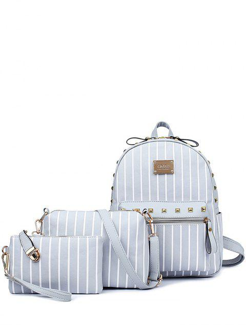 chic Striped Rivet PU Leather Backpack -   Mobile
