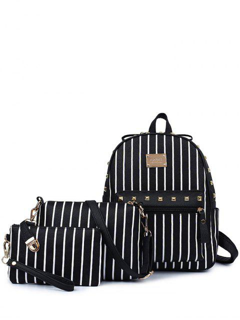 unique Striped Rivet PU Leather Backpack - BLACK  Mobile