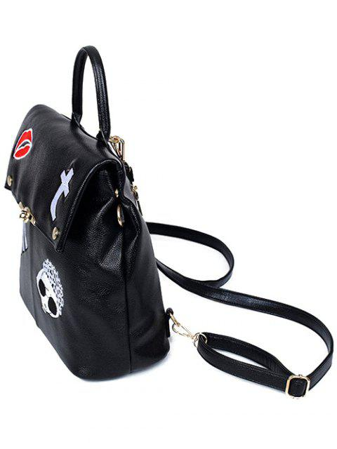 sale Embroidery PU Leather Backpack - BLACK  Mobile