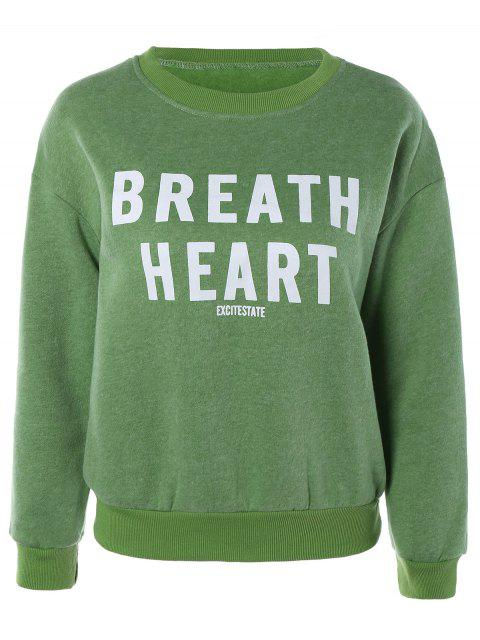 shop Letter Printed Round Neck Fleece Sweatshirt - GRASS GREEN ONE SIZE Mobile
