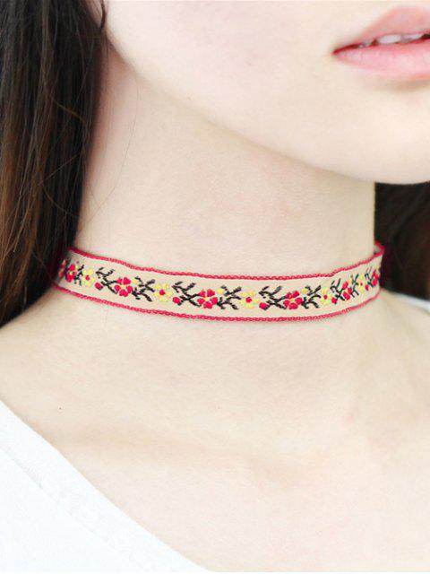 new Floral Embroidery Choker - WHITE  Mobile