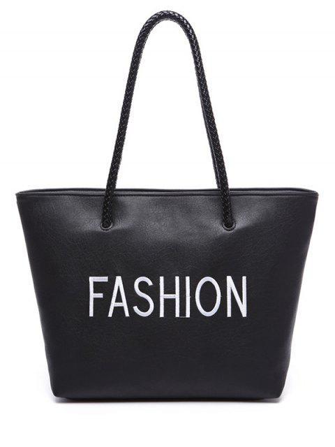 women's Letter Pattern Weaving Embroidery Shoulder Bag - BLACK  Mobile