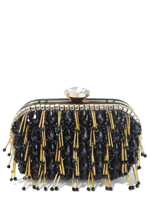 ladies Beading Chain-Trimmed Evening Bag - BLACK  Mobile