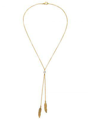 Gold Plated Leaf Bolo Necklace - Golden