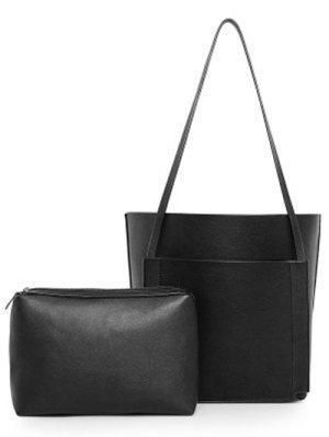 PU Leather Stitching Shoulder Bag - Black