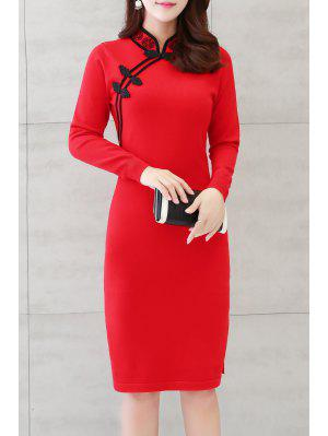 Long Sleeve Side Slit Cheongsam Dress