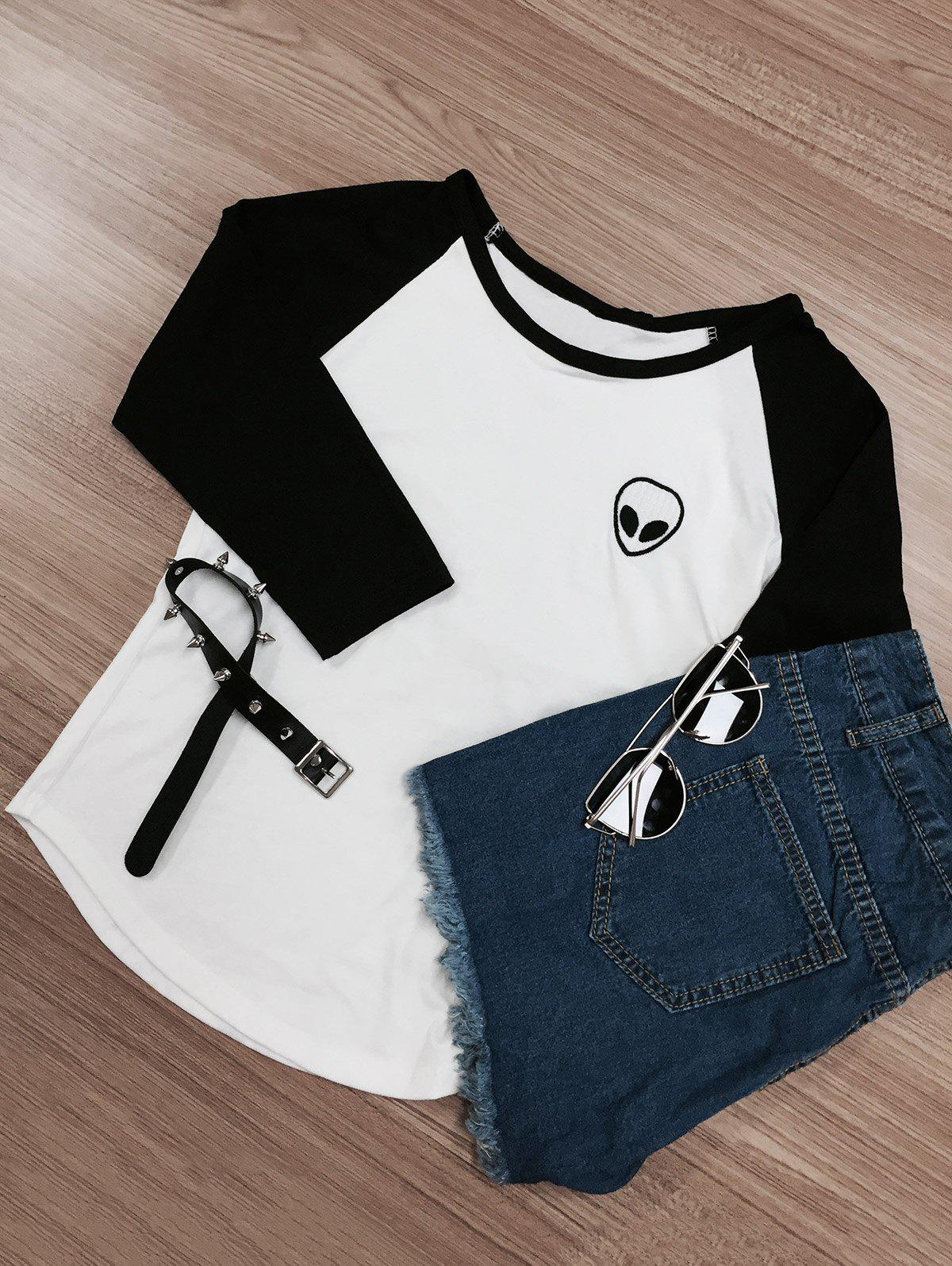 Raglan Sleeve Skull Print Color Block T-Shirt 192355302