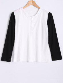 Round Neck Long Sleeve Color Block T-Shirt - White And Black 2xl