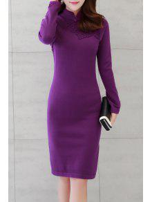 3D فستان شيونغسام محبوك مطرز - أرجواني M