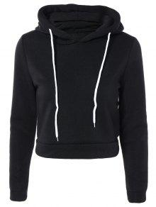 Cropped Pure Color Long Sleeve Hoodie - Black Xl
