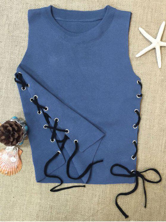 Side Lace-Up Knit Tank Top - Blue One Size