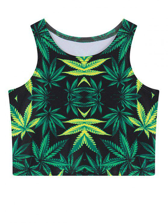 chic Leaf Print Crop Top - GREEN ONE SIZE