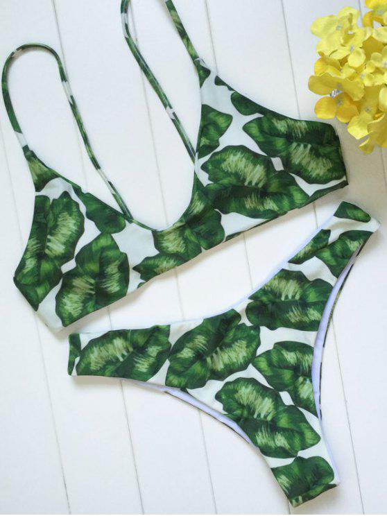 online Palm Leaf Print Bikini Set - WHITE AND GREEN S