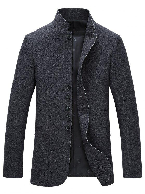Fique Collar Single-Breasted manga comprida Blazer - Cinzento XL