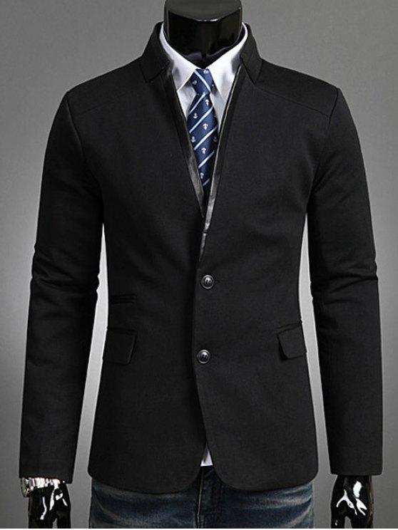 Único Breasted Fique Collar Blazer - Preto XL