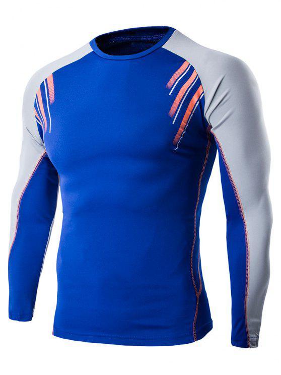 7be0149176824 Camiseta Casual Deportiva de Manga Larga de Diseño Estampado - Azul M