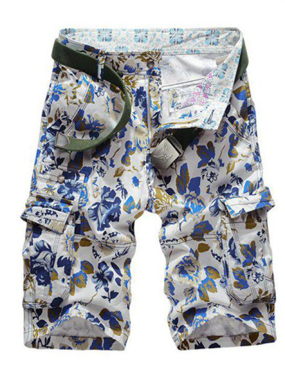 affordable Floral Print Multi Pockets Zipper Fly Cargo Shorts - BLUE 38