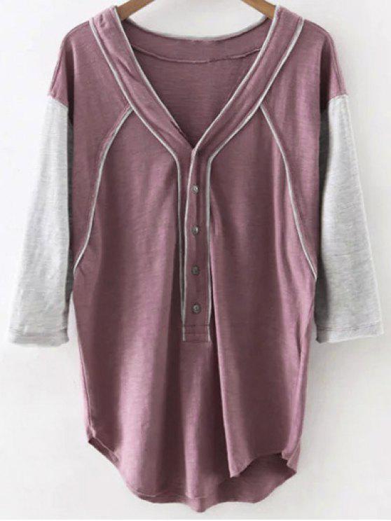 Hit de color con cuello en V 3/4 camiseta de la manga - Rojo purpúreo L