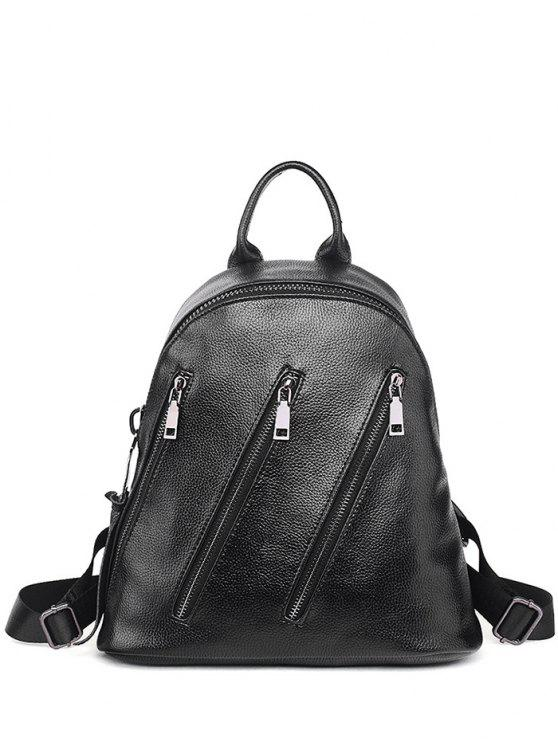 shops Metal Zippers Textured Leather Backpack - BLACK