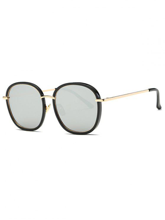 unique Double Frame Oversized Mirrored Sunglasses - SILVER