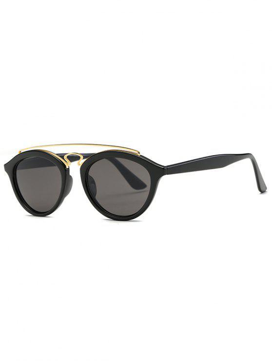 women Metallic Crossbar Wayfarer Sunglasses - BLACK