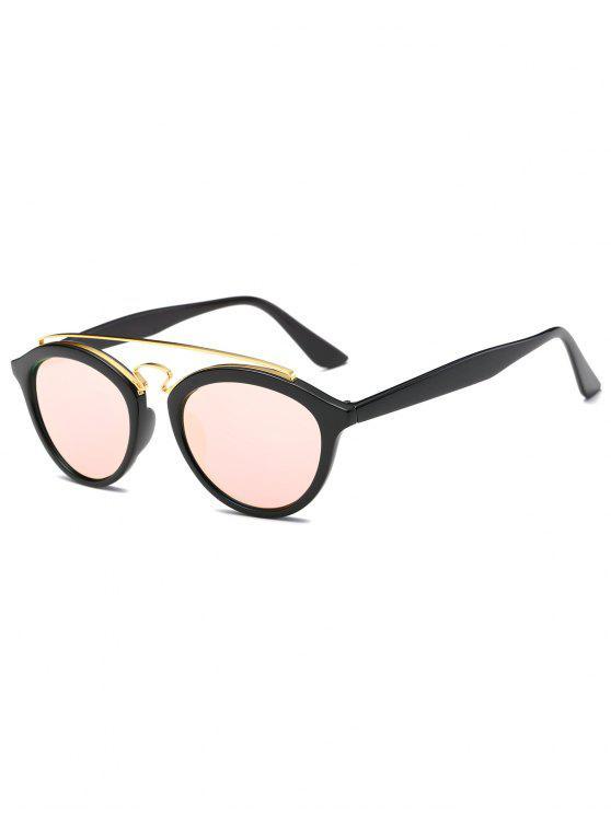Las barras transversales metálicas espejadas gafas de sol Wayfarer - Rosa