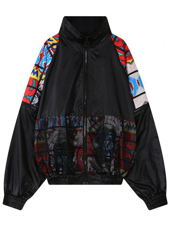 Detalle de malla chaqueta bordada - Negro Única Talla