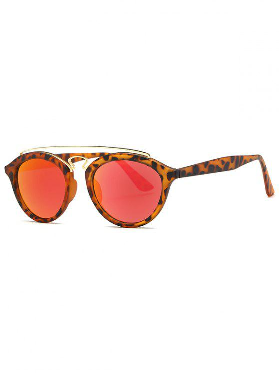 online Crossbar Leopard Mirrored Trendsetter Sunglasses - RED