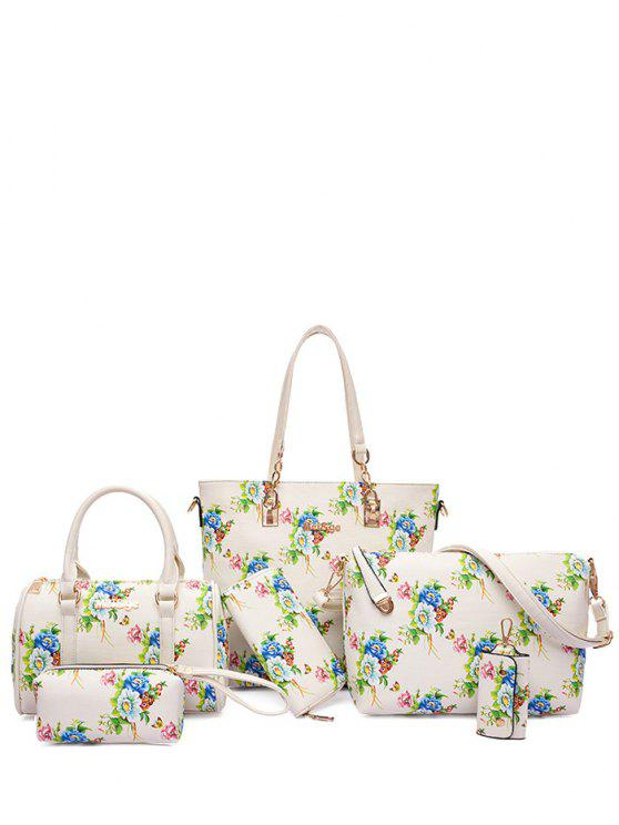 Métal Floral Print Zipper Shoulder Bag - Blanc Cassé