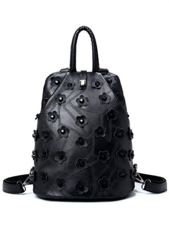latest Stitching Rivets Flowers Backpack - BLACK