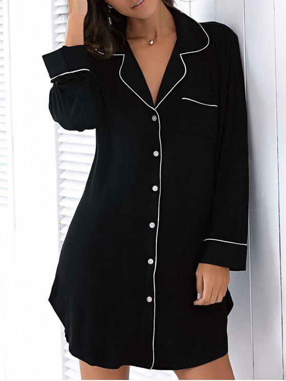 buy Long Sleeve Lapel Collar Boyfriend Shirt Sleepwear - BLACK M