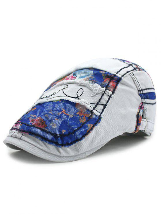 cdfb0187 Outdoor Letter Embroidery Flower Lace Casual Ivy Newsboy Cap - Blue