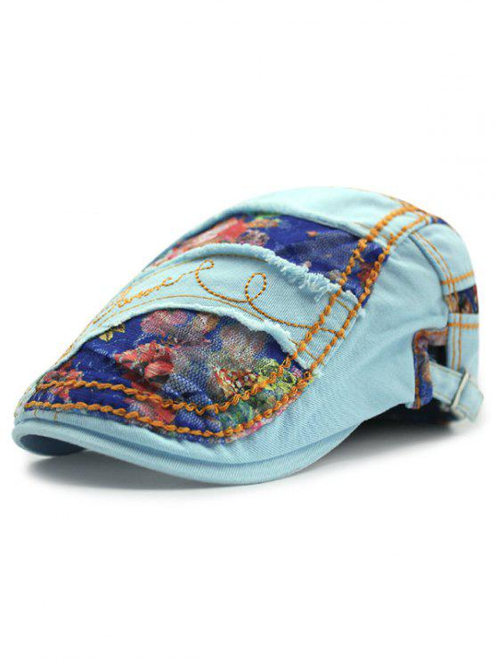 17f29111 Outdoor Letter Embroidery Flower Lace Casual Ivy Newsboy Cap - Light Blue