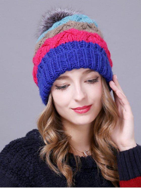 fancy Outdoor Faux Fur Ball Striped Knitted Beanie - BLUE