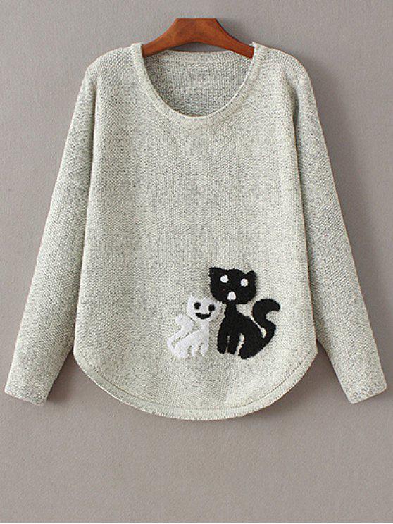 shop Cat Jacquard Round Neck Sweater - WHITE ONE SIZE