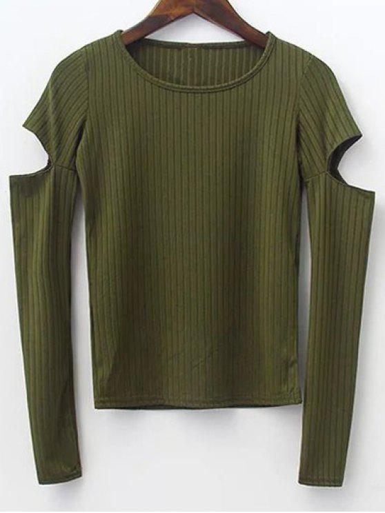 outfit Split Sleeve Sweater - ARMY GREEN S