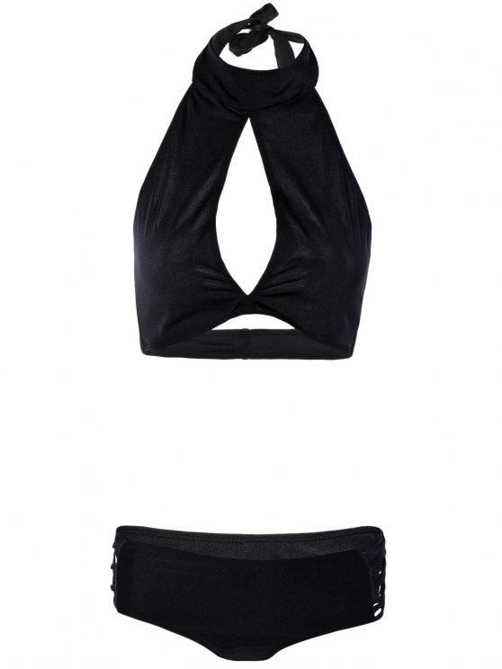 shop Hollow Out High Neck Black Bikini Set - BLACK L