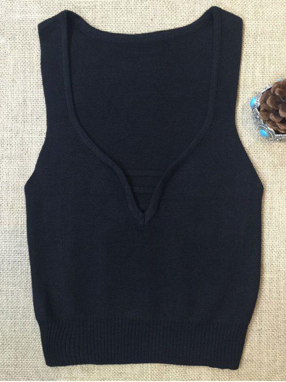 Sin mangas de cuello en V suéter - Negro S