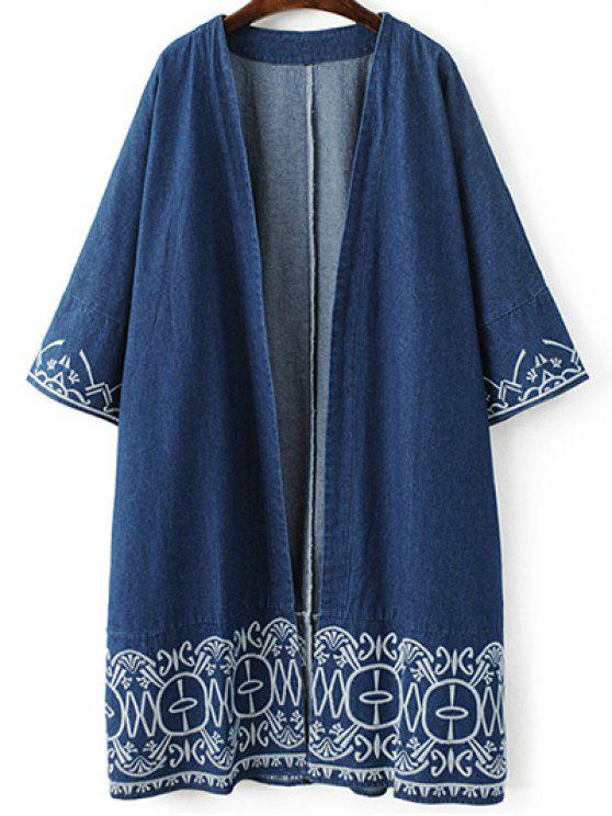 fancy Embroidered Denim Trench Coat - BLUE L