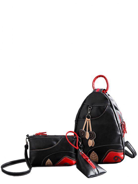 womens Knots Leaf Pattern PU Leather Backpack - BLACK