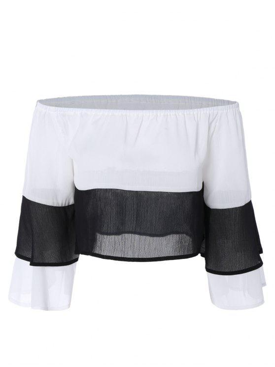 sale Color Block Off The Shoulder Flare Sleeve Blouse - COLORMIX M