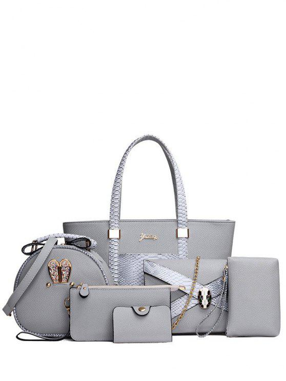 lady Embossing PU Leather Metal Shoulder Bag - GRAY