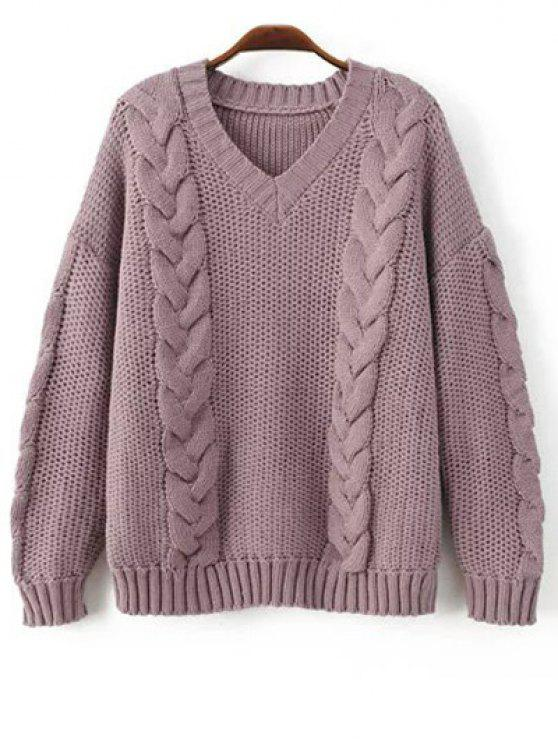 2018 Braid Knit Pullover Sweater In PURPLE ONE SIZE
